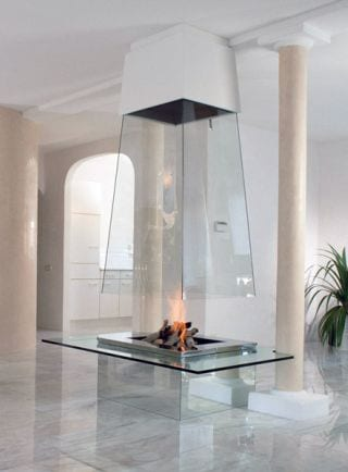 glass fireplace chimenea cristal