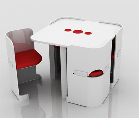 kitchenette sillas mesa minimalista