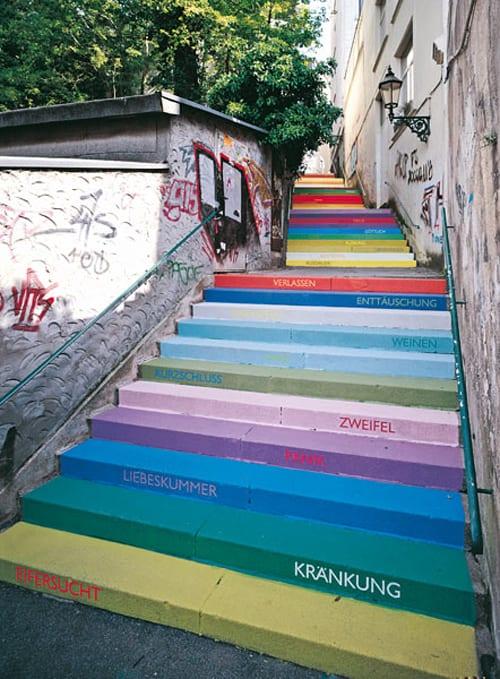 pintura escalera colores arte urbano
