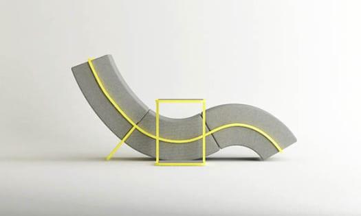 chaise longue moderna diseño curvo