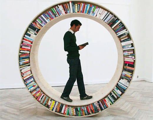 biblioteca circular movil diseño decoracion