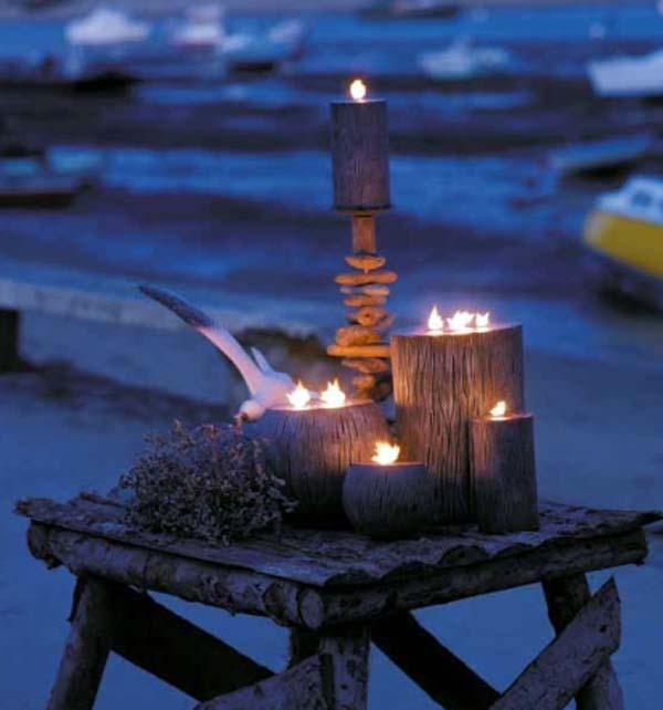 Decoracion con velas en exteriores