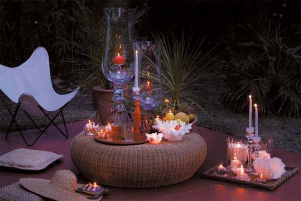 Como decorar con velas espacios exteriores