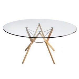 mesa redonda de cristal con patas de aluminio