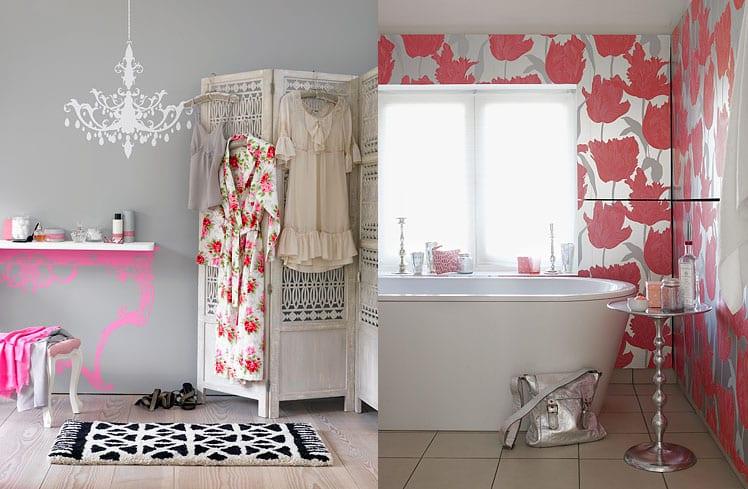 La decoración de un baño femenino