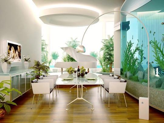 decorar con acuarios y peceras - Peceras Grandes