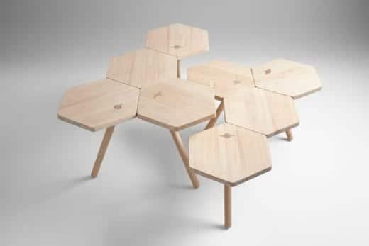 mesa hexagonal de madera moderna