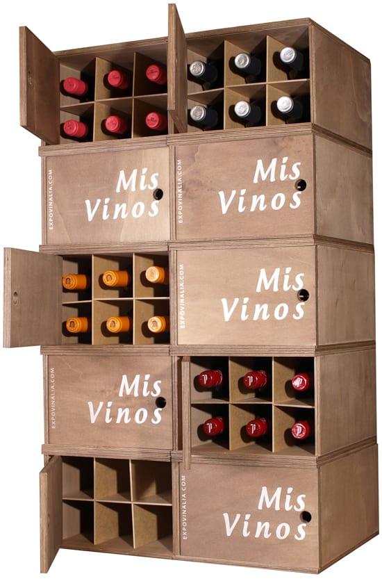 Mueble caja de 6 botellas apilable