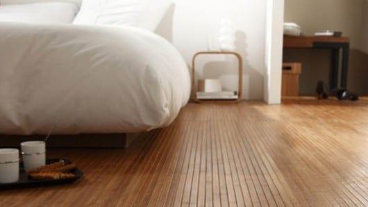 El piso de bambú
