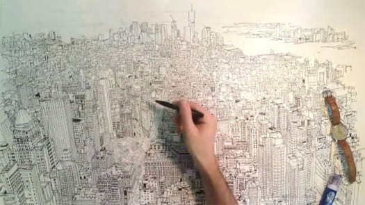 dibujo a mano skyline manhatta