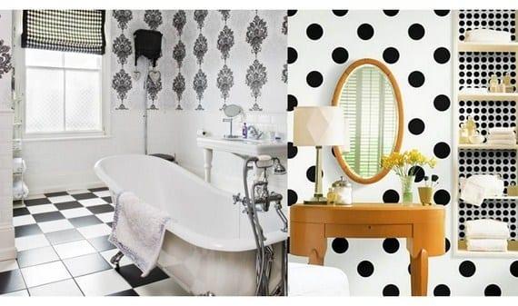 Baños con papel en blanco y negro