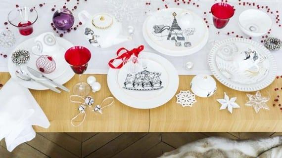 Decoración de mesa blanca para esta Navidad