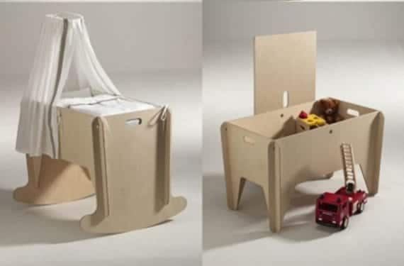Mini -cuna que se convierte en caja de juguetes, de Das Möbel