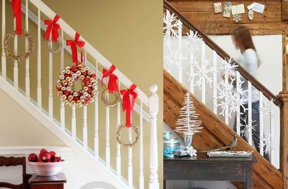 Decorar las escaleras en navidad for Decoraciones para gradas