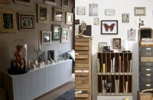 Paredes decoradas con fotografías antiguas u objetos de mercadillo