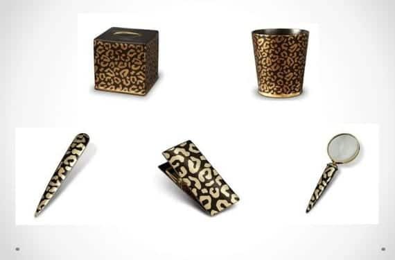 Accesorios de oficina con motivos en oro y leopardo