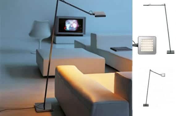 Lámpara de pie Kelvin Led F, diseño de Antonio Citterio para Flos