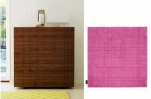 Serie Kilt: Aparador y alfombra con diseño en relieve a juego