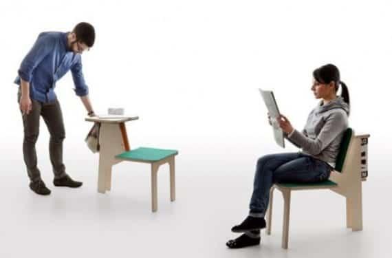 Asiento Double side que sirve como silla/revistero y mesa de trabajo a la vez