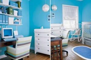 Cuarto para el bebé y zona de trabajo en la misma estancia