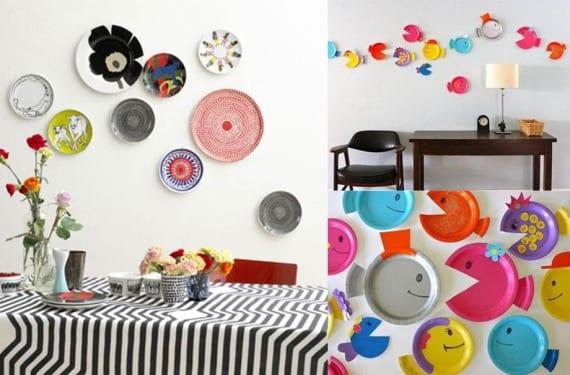 Platos en melamina y plástico para decorar las paredes