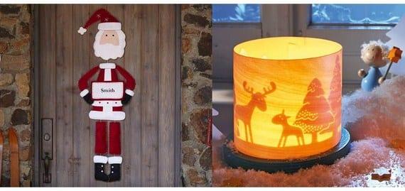 Papa Noel para colgar en la puerta y lámpara de Haba en chapa de madera