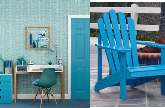 La oficina en casa o la terraza se invaden de color turquesa