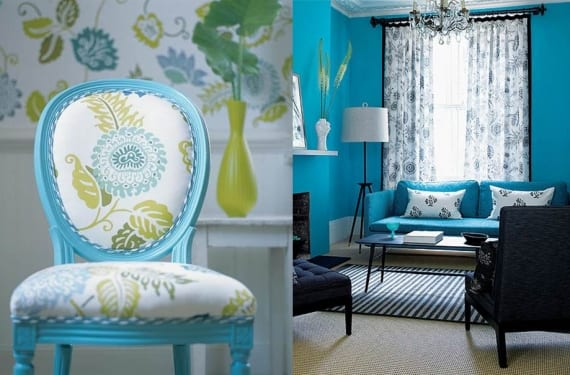 Muebles tapizados o pintados en turquesa