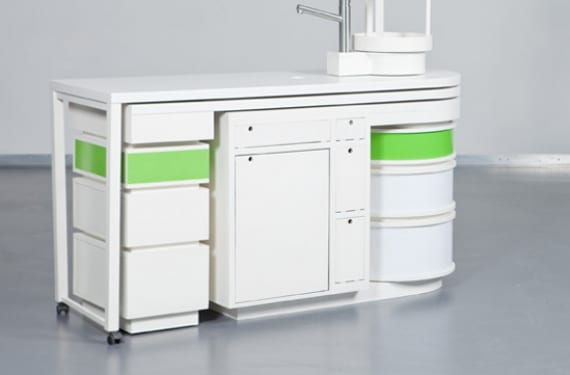 Cocina compacta que despliega lateralmente la zona de cocción y el fregadero