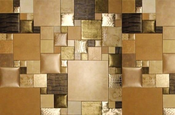 Paneles de pared formados con piezas de cuero