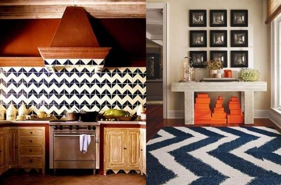 El diseño en Chevron en paredes y alfombras