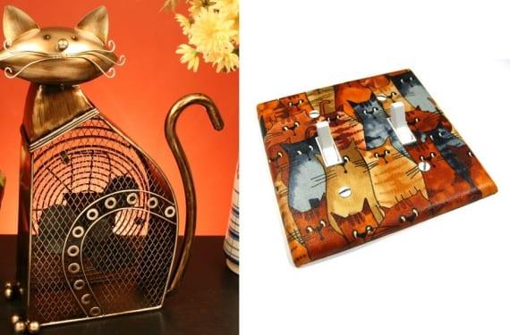 Ventilador en forma de gato e interruptor con motivos felinos