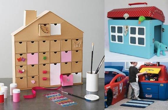 Muebles de almacenaje para niños en forma de casa