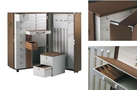Baúl/consola/escritorio de viaje diseñado por A. Putman y fabricado por Poltrona Frau