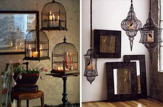 Pajareras a modo de lámparas hechas con velas