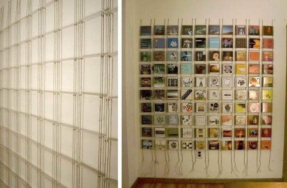 Porta Cds hecho en casa con cuerdas y cartelas de museo