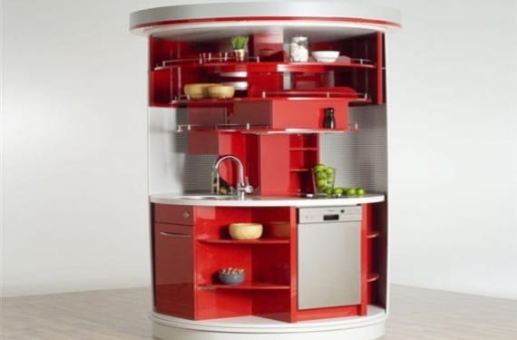 Cocina compacta alemana circular que ocupa menos de 2 m2