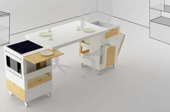 Rubica es un modelo de cocina compacta que esconde la placa y el fregadero