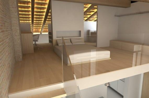 Dormitorio en el altillo de un loft