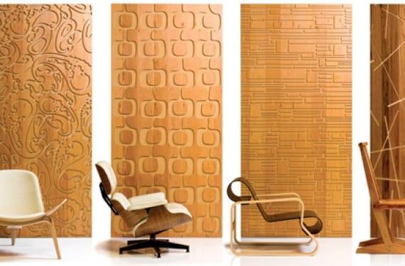 Paneles decorativos para pared en madera y con relieve