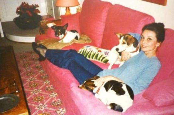 Una Audrey madura con sus perros en el salón de La Paisible