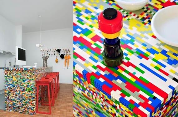 Isla de cocina formada por piezas de Lego