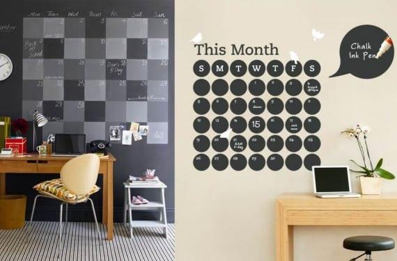 Calendarios en pintura de pizarra
