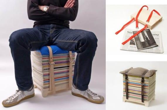 Hockenheimer stool made of magazines