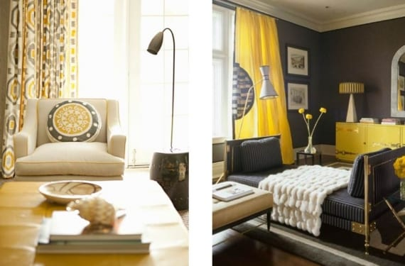 Salones decorados en amarillo y gris