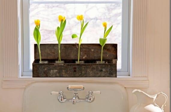 Decorar el alféizar del baño