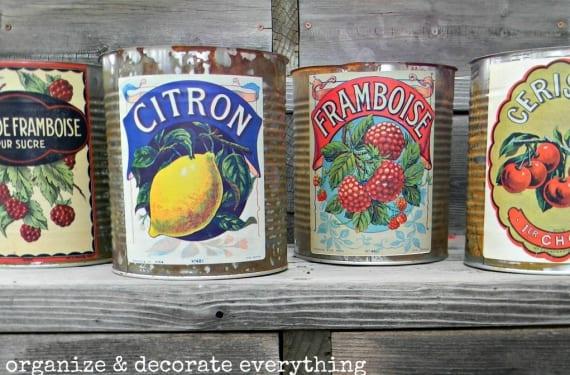 Latas decoradas al estilo vintage