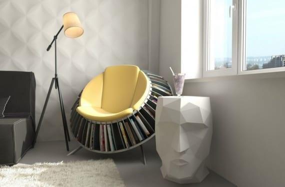 Yellow magazine rack chair