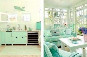 Verde agua en la cocina y el salón