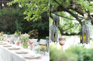 Mesa defiesta en el jardin
